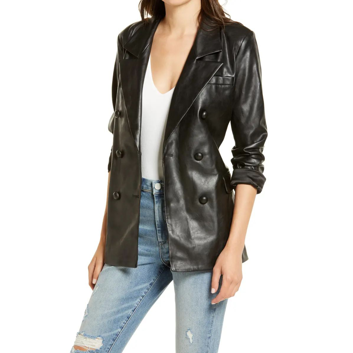 BLANKNYC The Nightingale Faux Leather Blazer