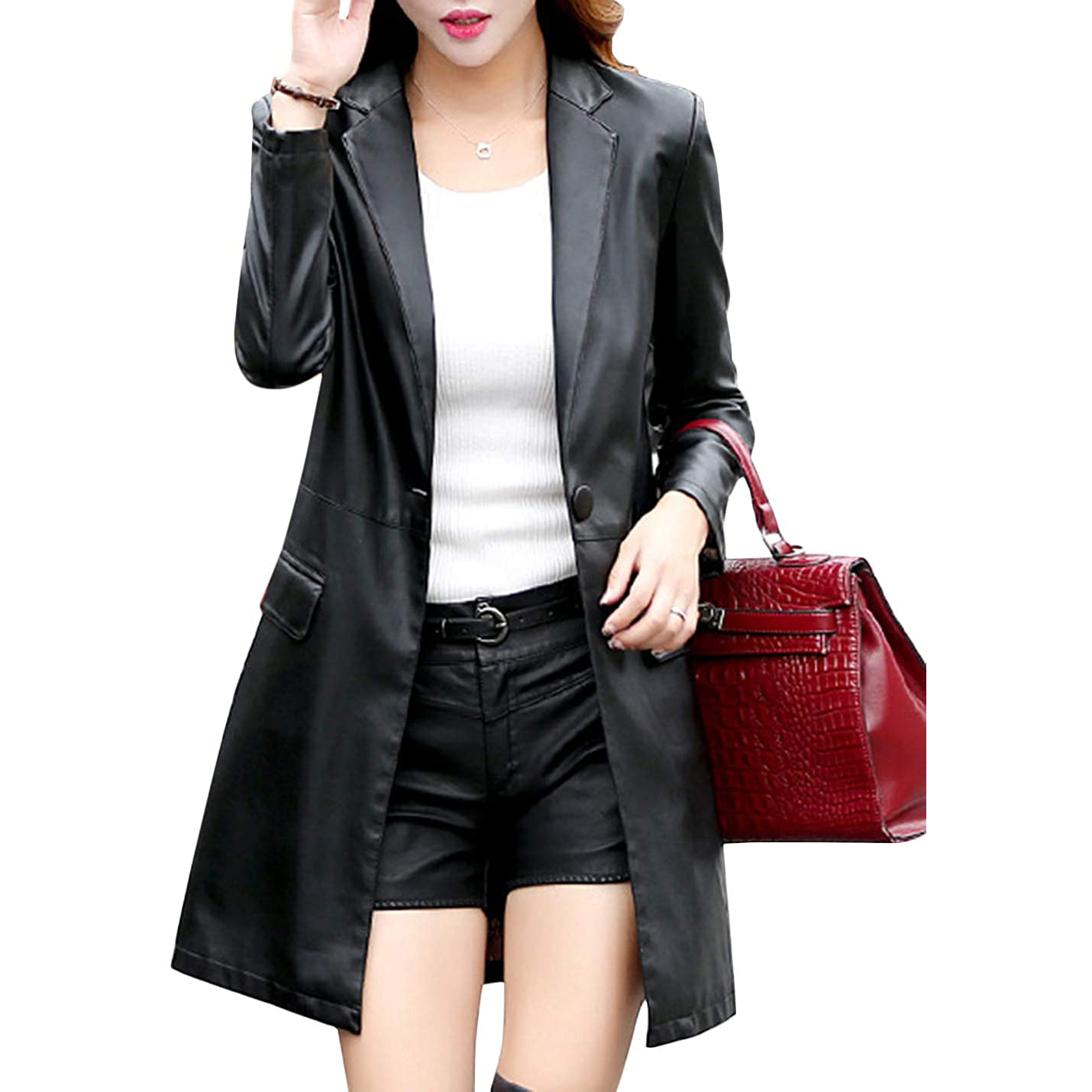 Tanming Womens Casual Lapel Long Leather Jacket