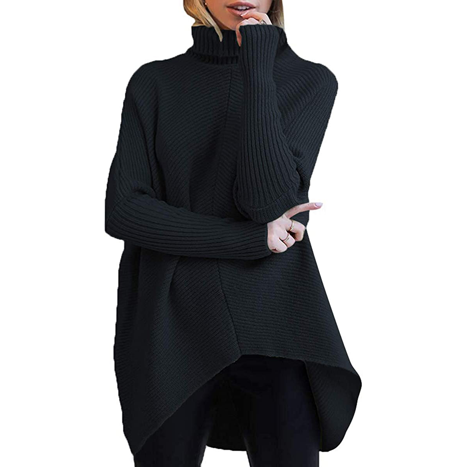 ANRABESS Womens Turtleneck Long Batwing Sleeve