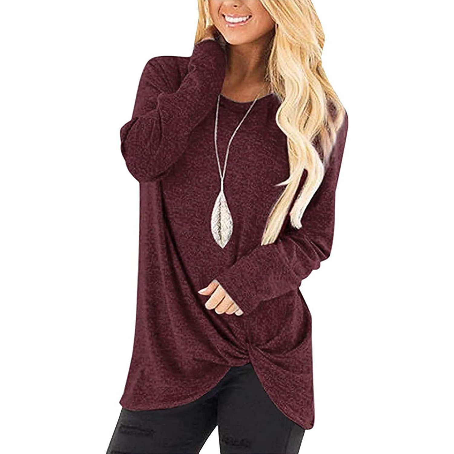 MarinaPrime Womens Waffle Knit/Cotton Blend Twist Knot Pullover