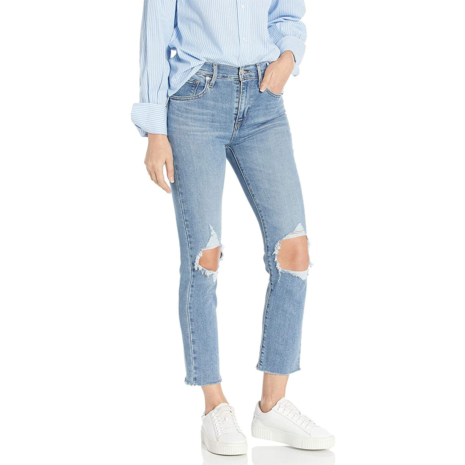 levis womens high rise straight crop jeans