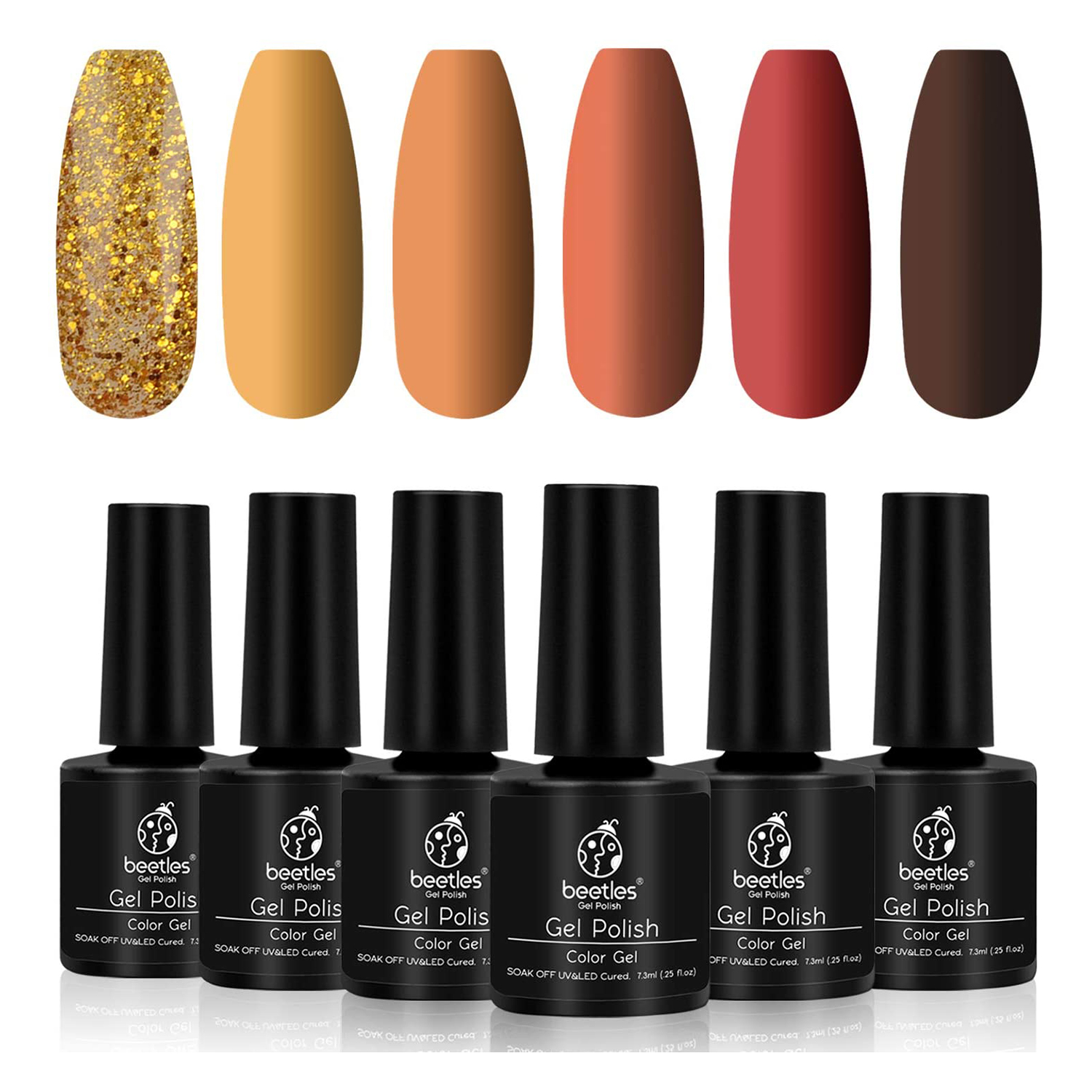 Beetles Gel Polish Set, Pumpkin Spice Yellow Gel Nail Polish Red Orange Glitter Nail Polish Kit Soak