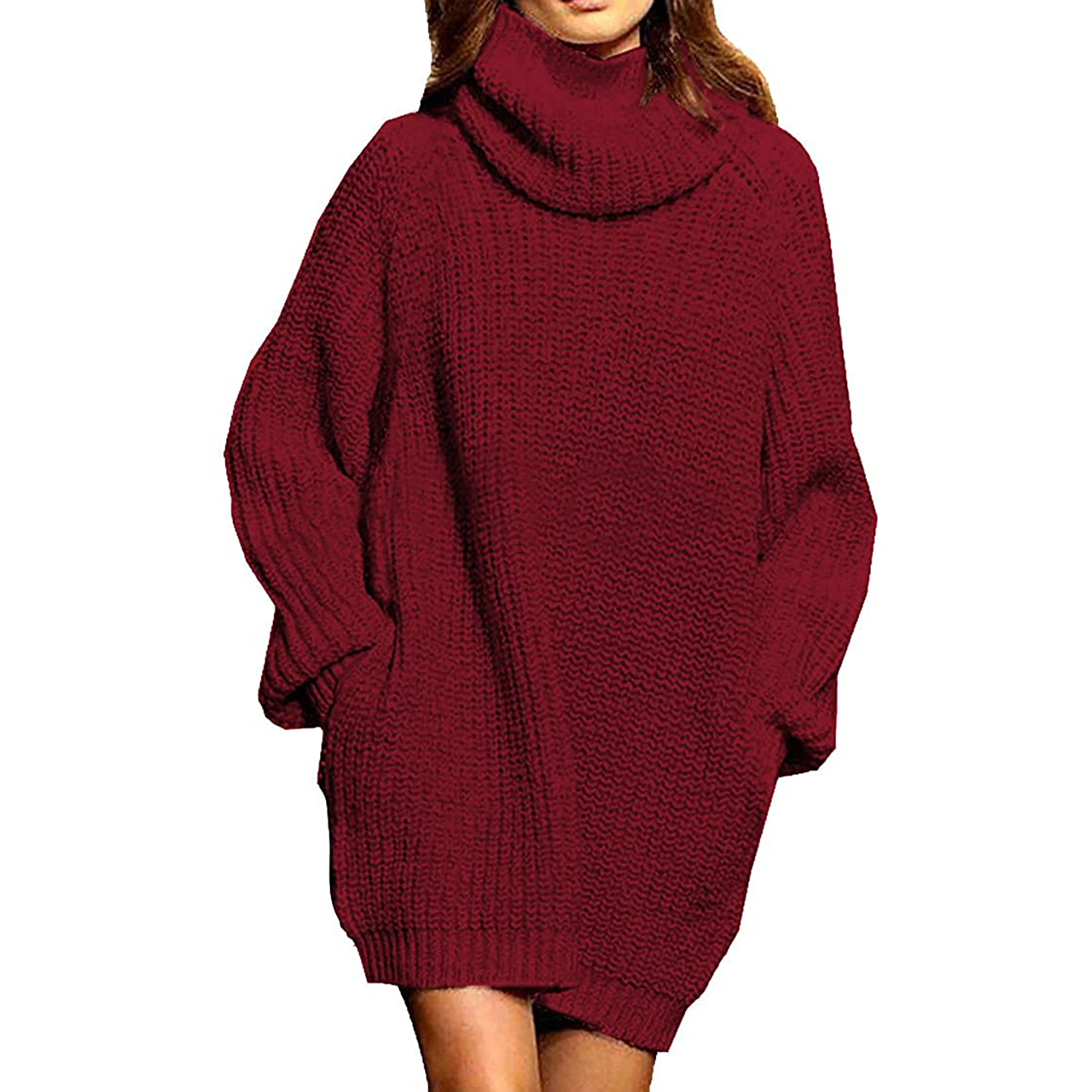 pink queen oversize turtleneck sweater dress