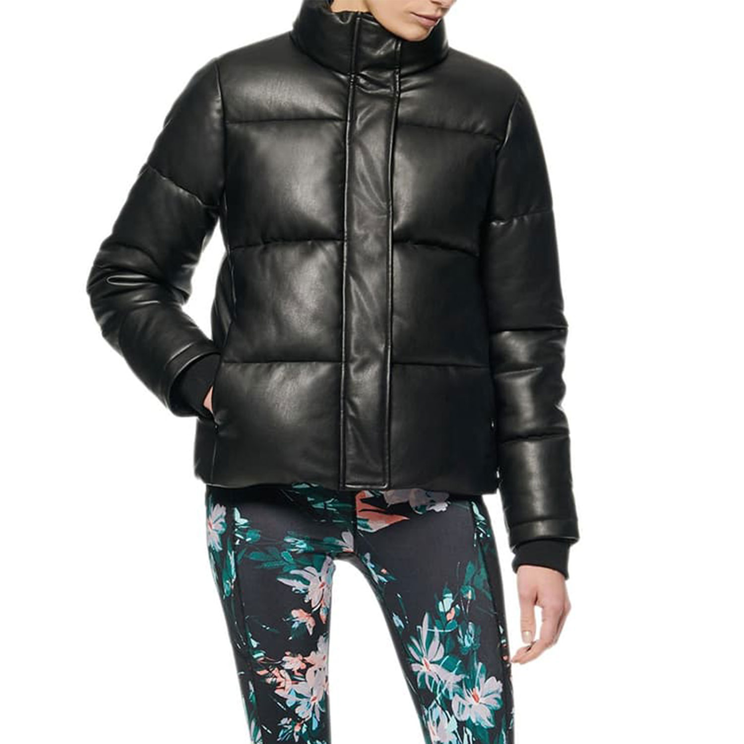 andrew marc faux leather puffer jacket