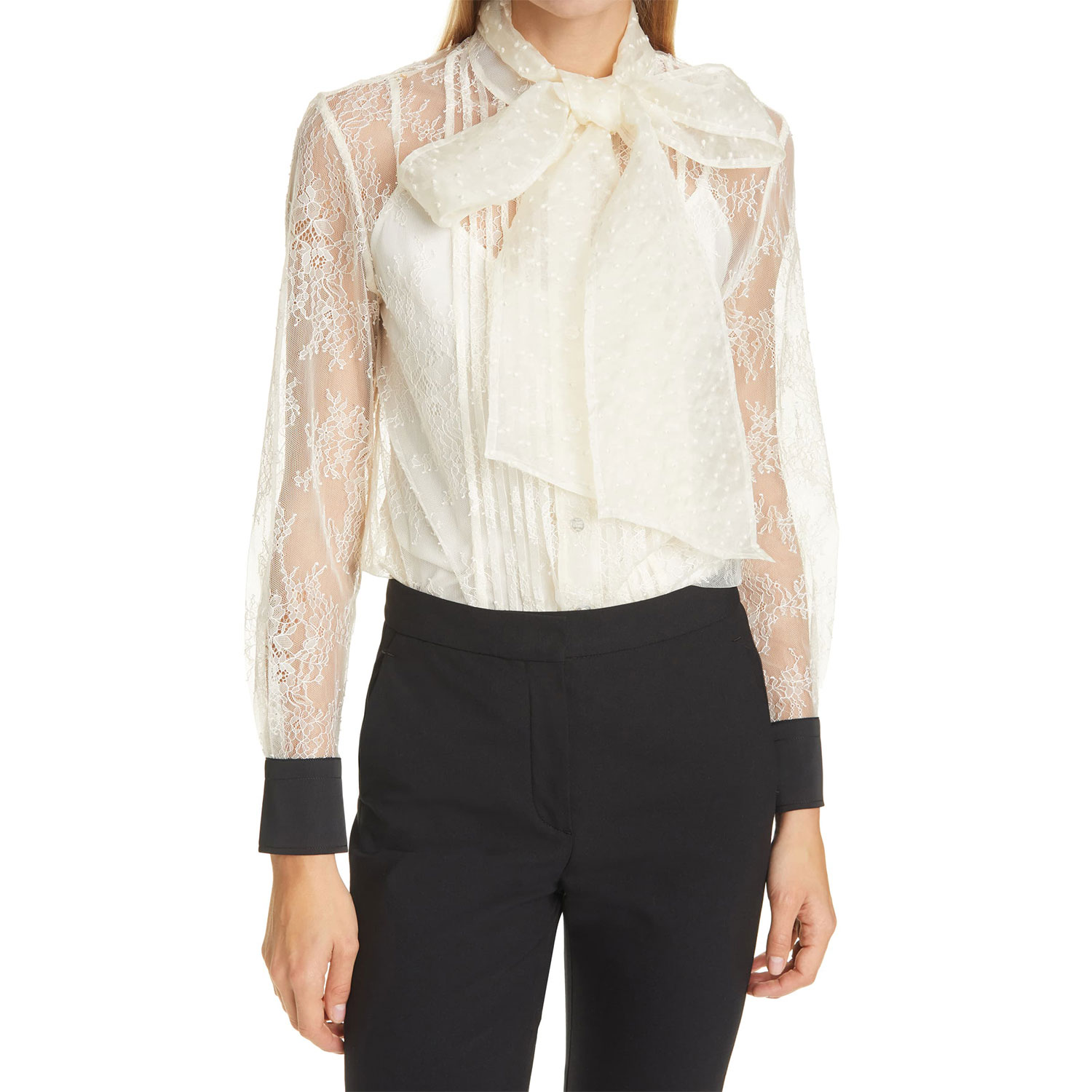 chantilly lace bow blouse