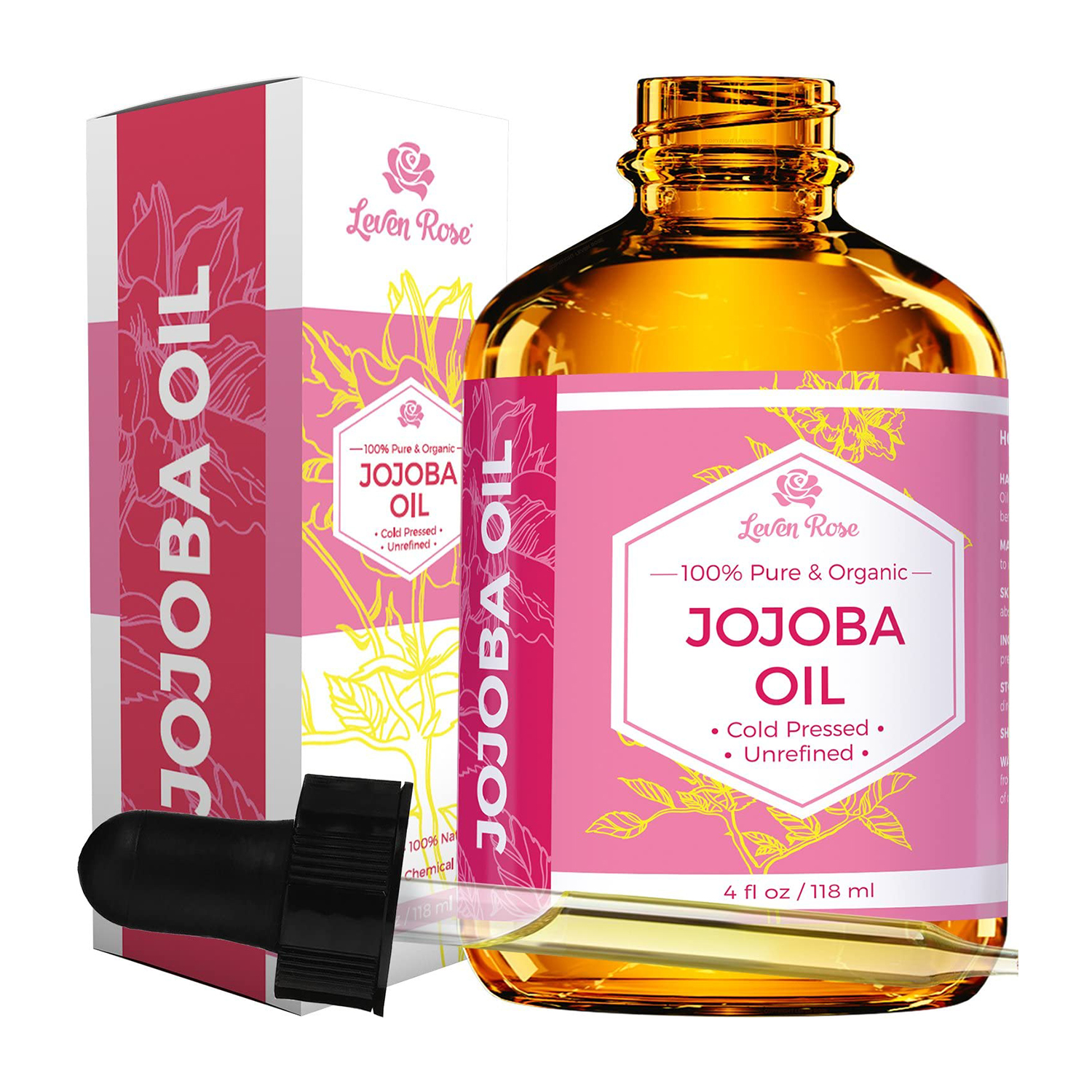Jojoba Oil by Leven Rose, Pure Cold Pressed Natural Unrefined Moisturizer for Skin Hair Body