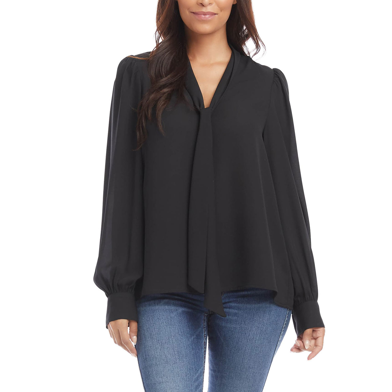 karen kane shirred tie neck blouse