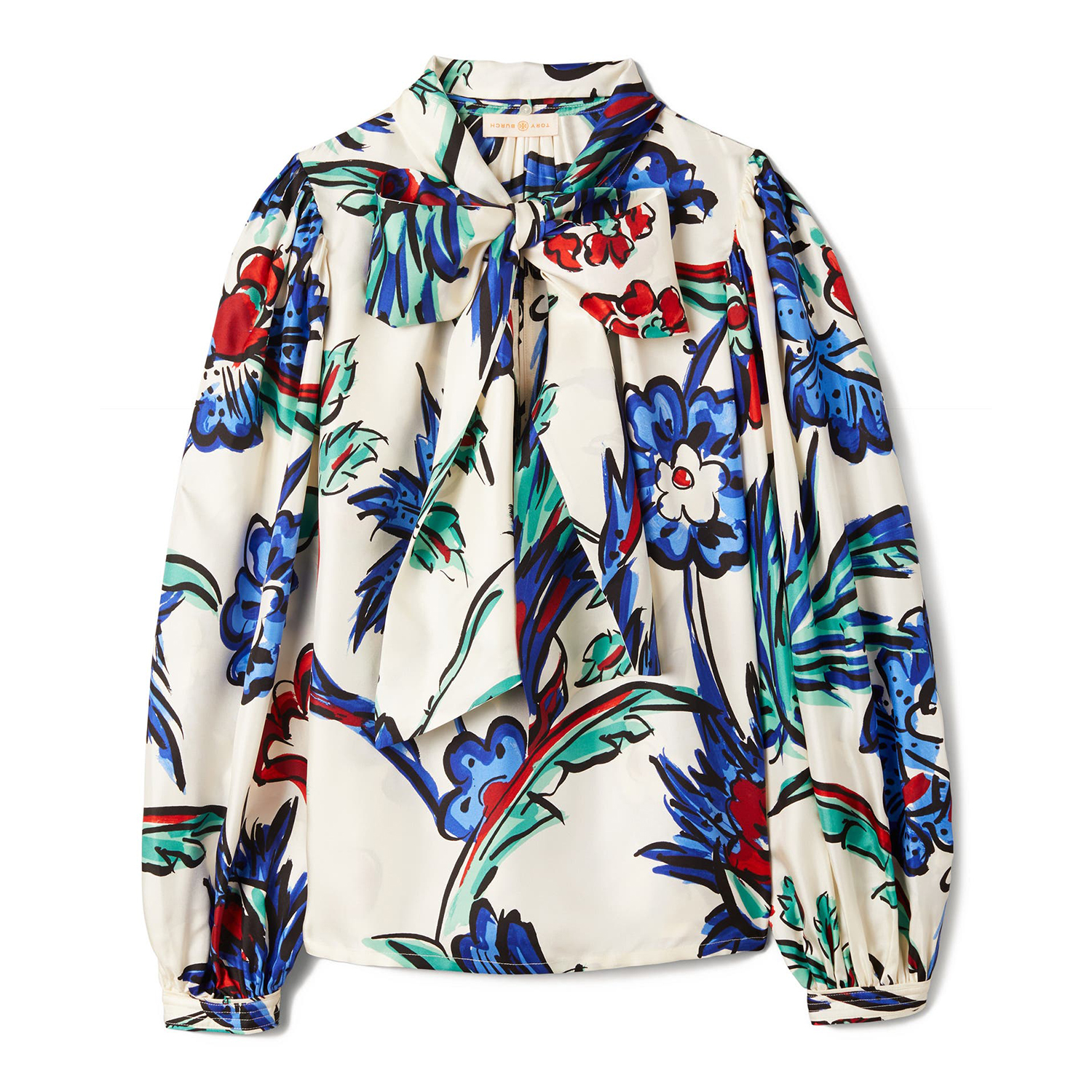 Floral Print Tie Neck Silk Blouse