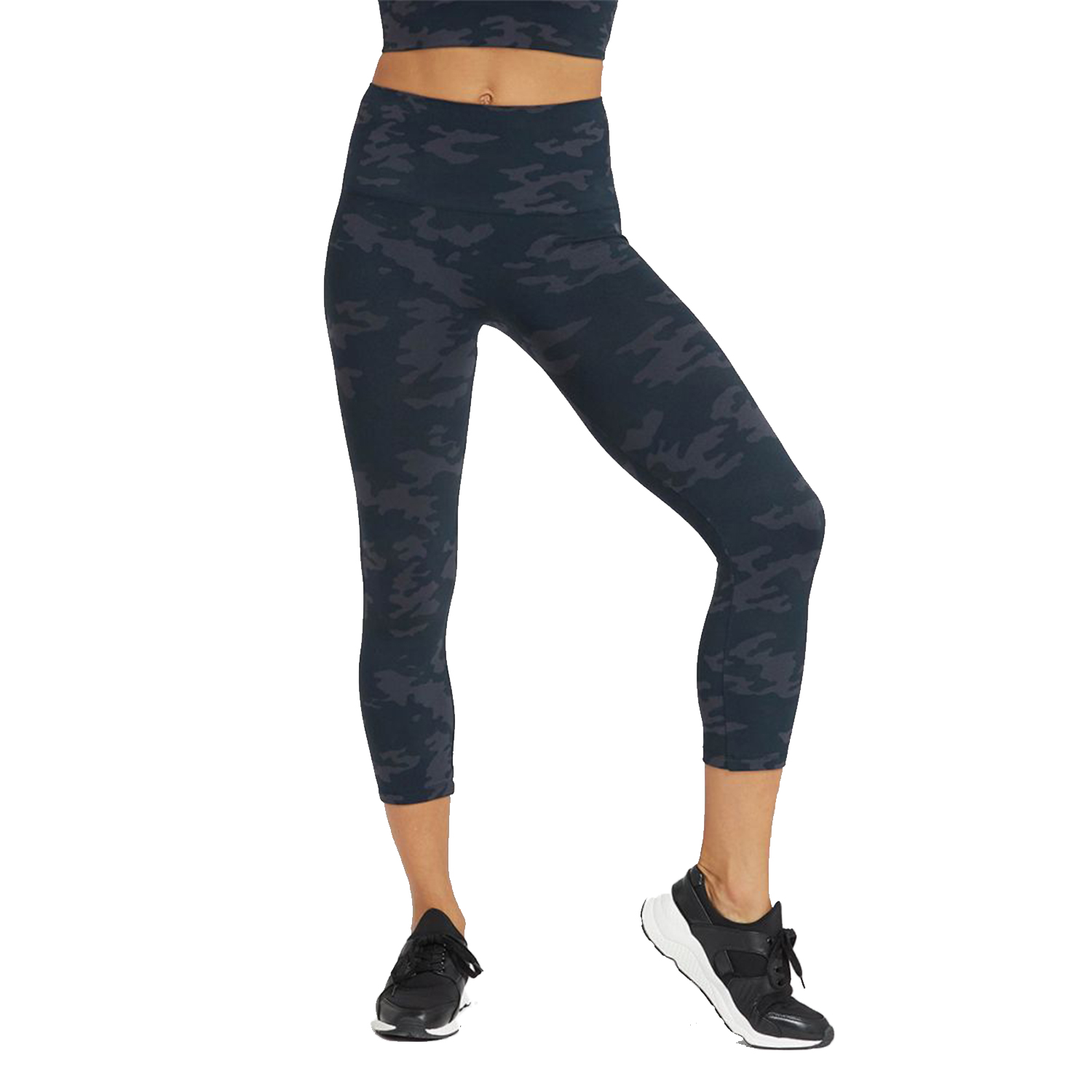 spanx look at me now cropped seamless leggings, black camo