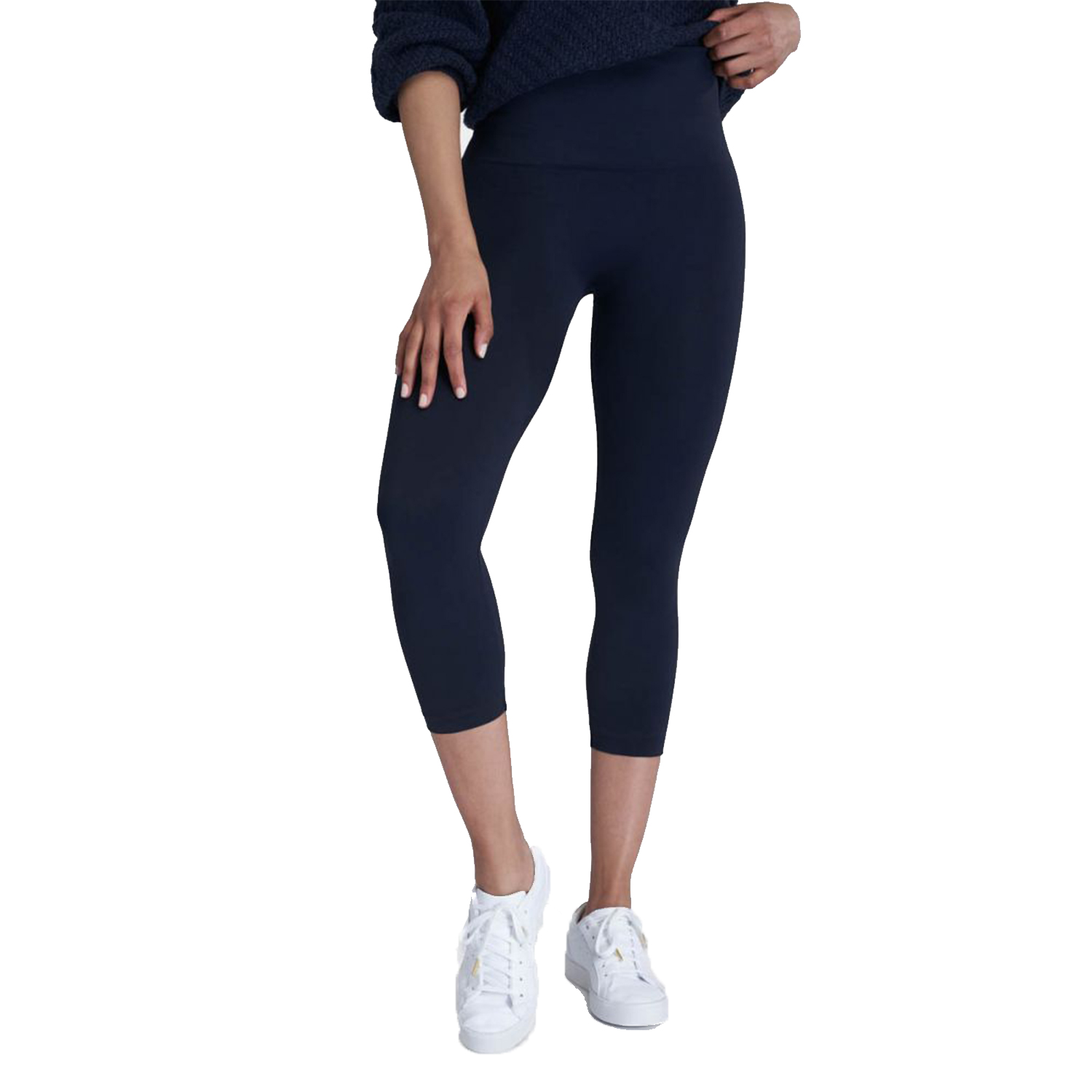 spanx look at me now cropped seamless leggings, navy