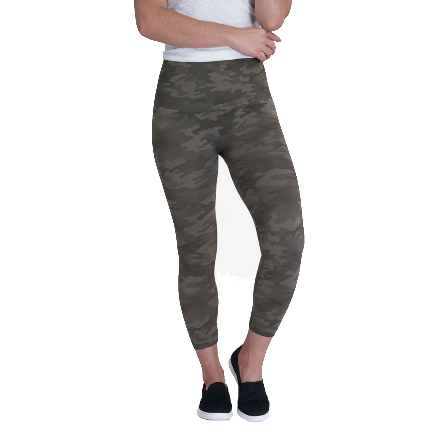 spanx look at me now cropped seamless leggings, sage camo