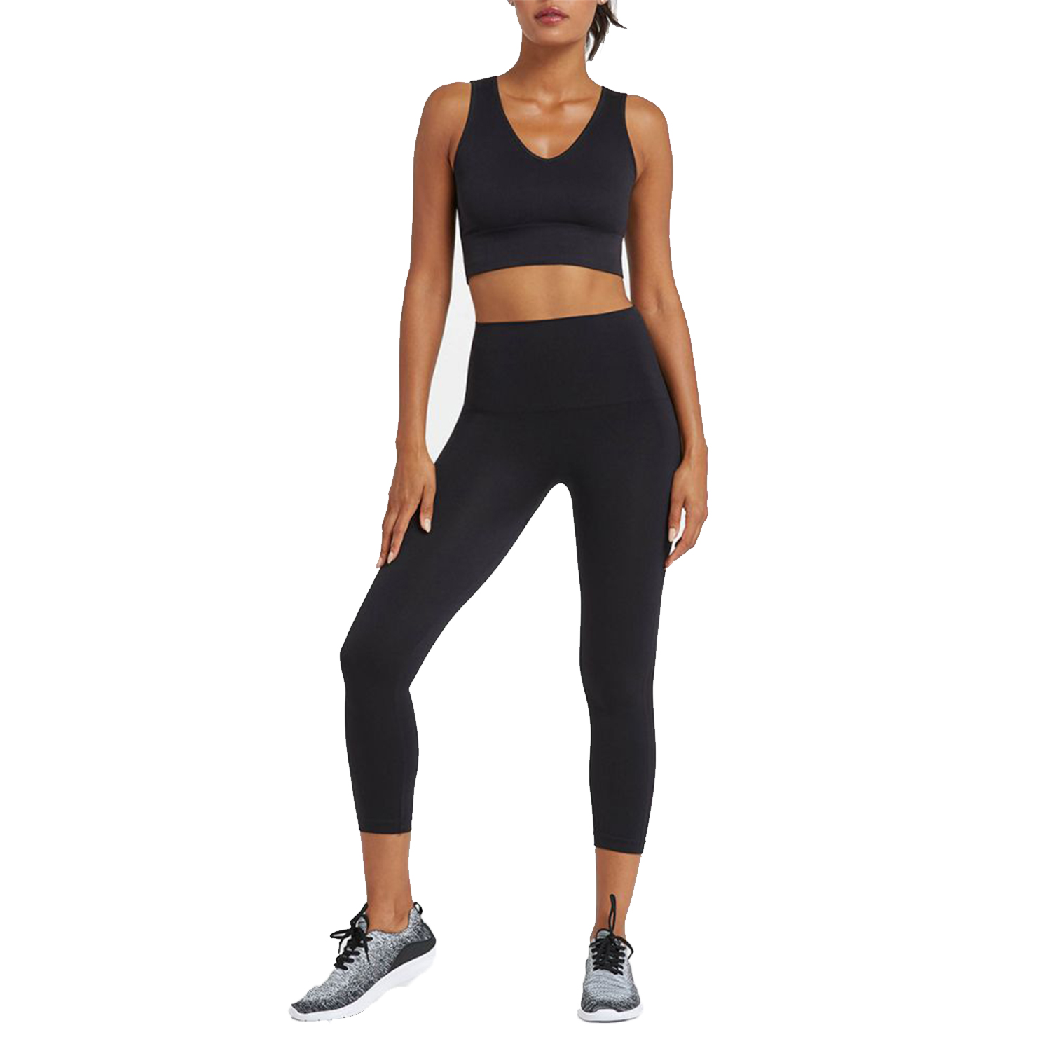 spanx look at me now cropped seamless leggings, very black