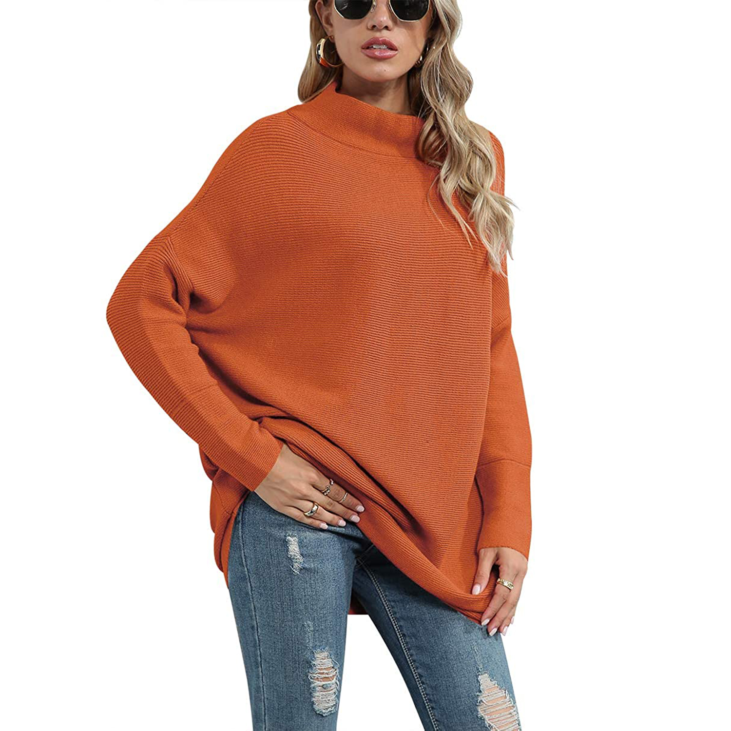 ANRABESS Women Casual Turtleneck Batwing Sleeve Slouchy Oversized Sweater