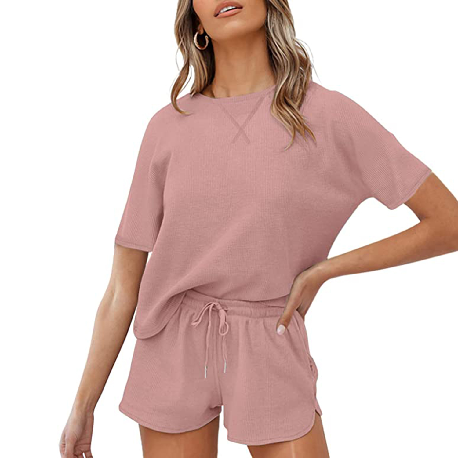 ZESICA Women's Waffle Knit Pajama Set Short Sleeve Top and Shorts Loungewear