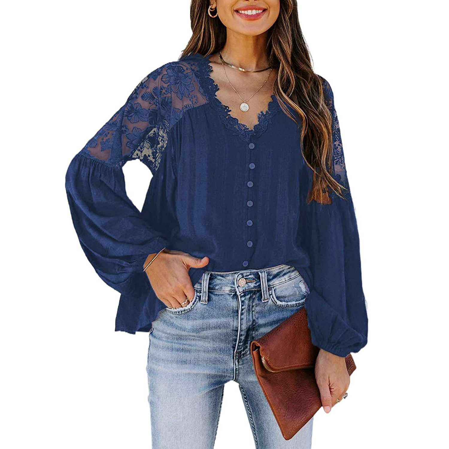 Canikat v-neck lace crochet blouse