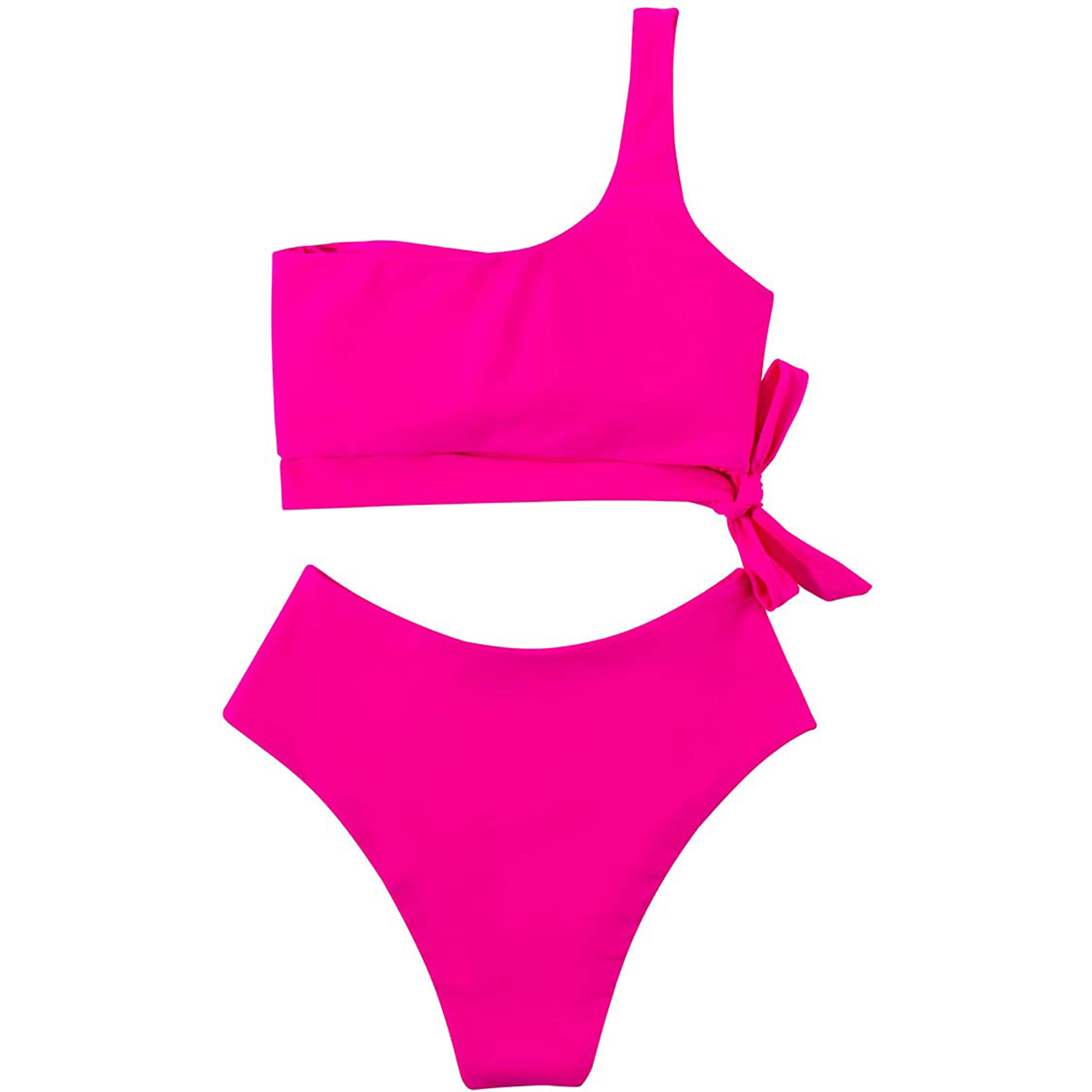 MOOSLOVER Women One Shoulder High Waisted Bikini Tie High Cut Two Piece Swimsuits