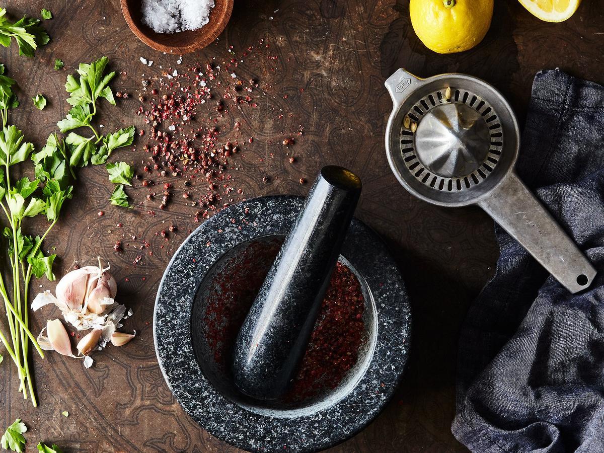 natural stone mortar and pestle