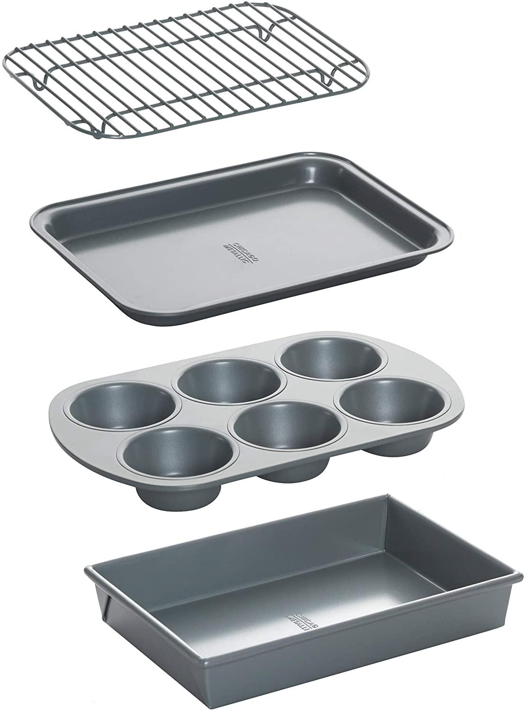 Chicago Metallic Non-Stick Toaster Oven Bakeware Set on a white background