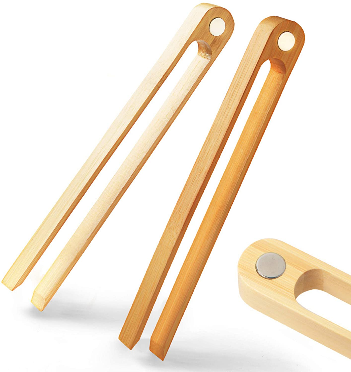 Magnetic Bamboo Toaster Tongs on a white background