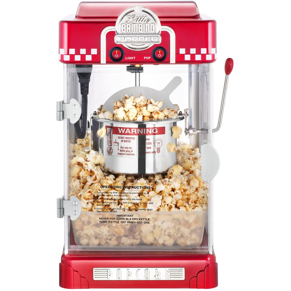 Great Northern Little Bambino Table Top Popcorn Popper with a white background