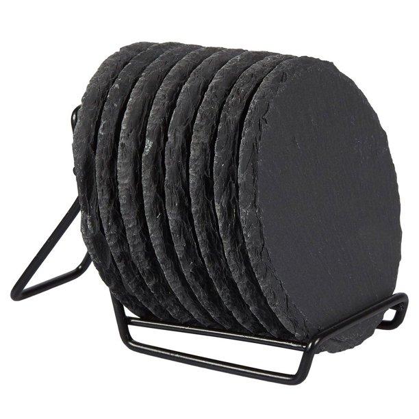 black slate coasters on a stand