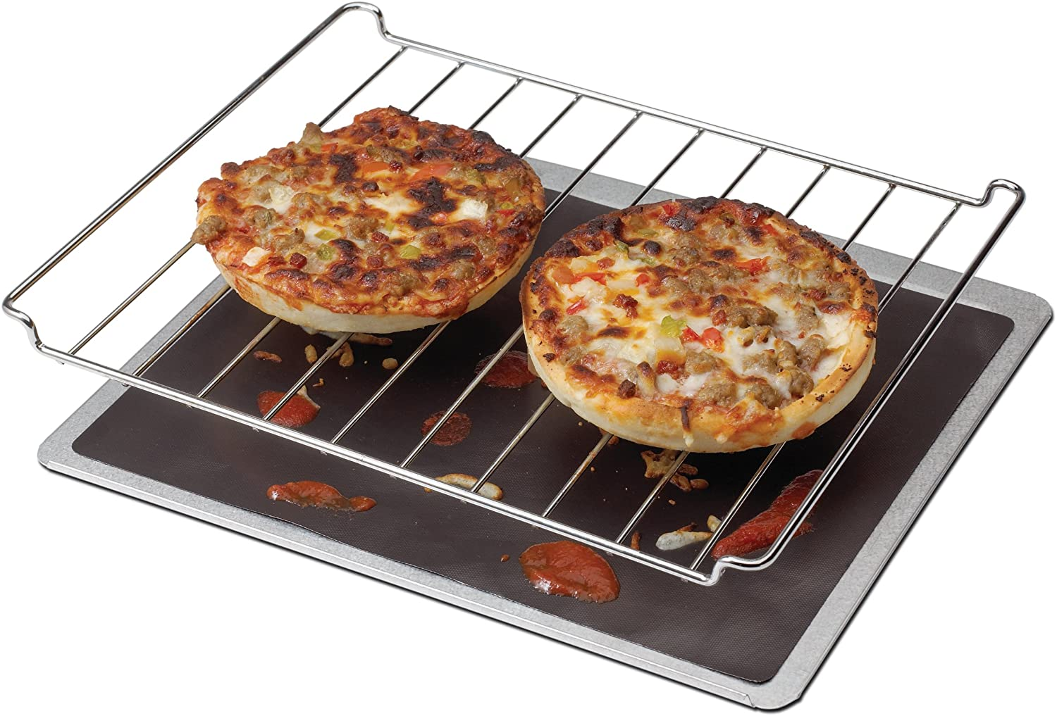 Chef's Planet Nonstick Toaster Oven Liner with pizzas on top