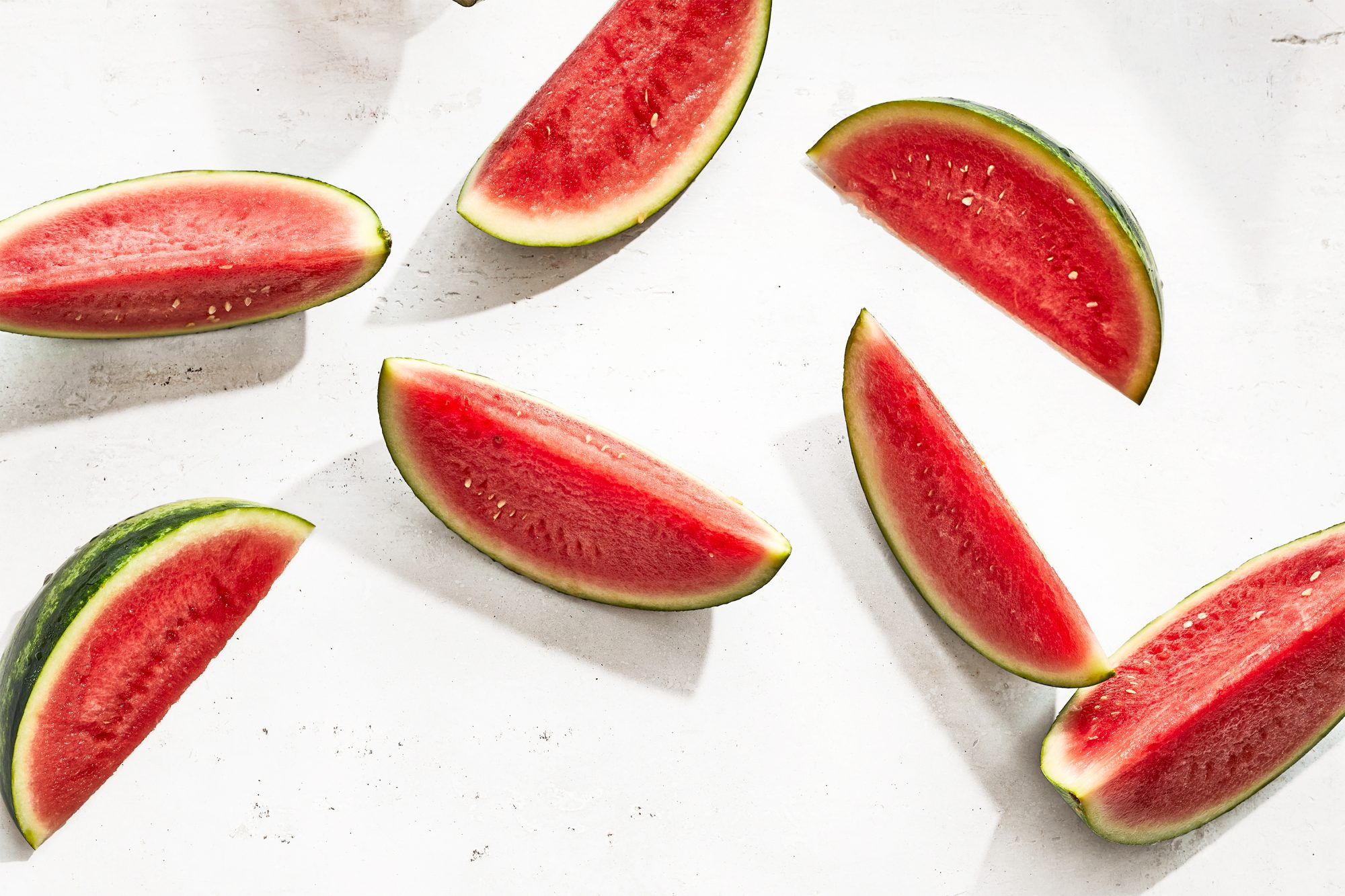 watermelon slices on a marble background