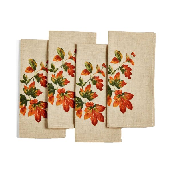 set of four neutral color napkins with leaf pattern