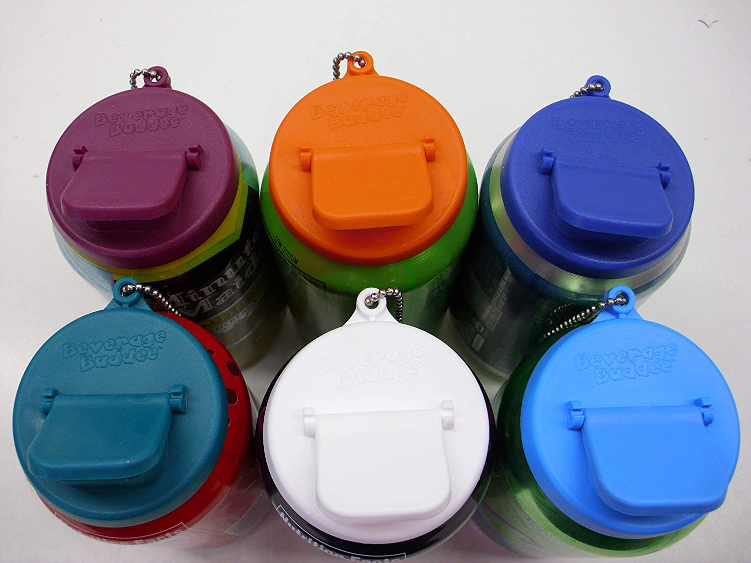 beverage lids on a six pack of drinks
