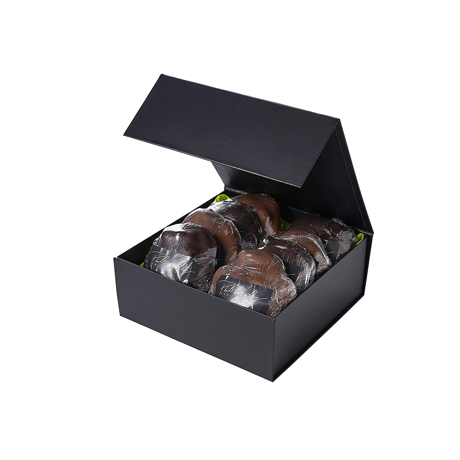 Set of eight chocolate turtles in black gift box