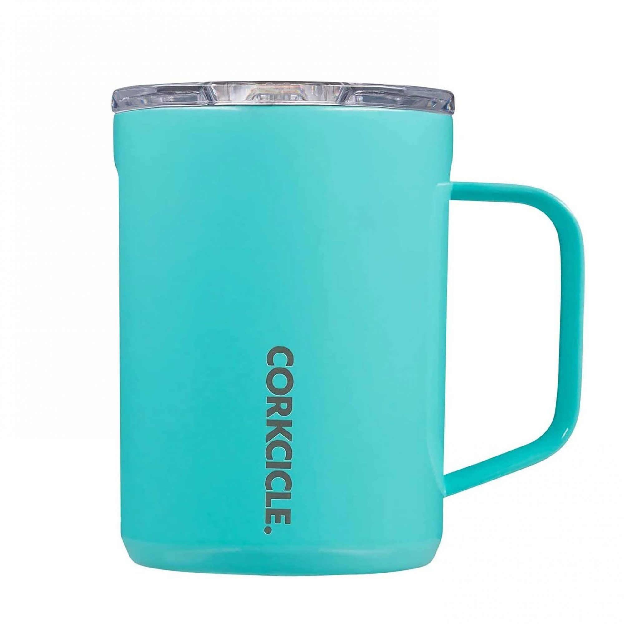 Teal corkcicle mug with lid on white background