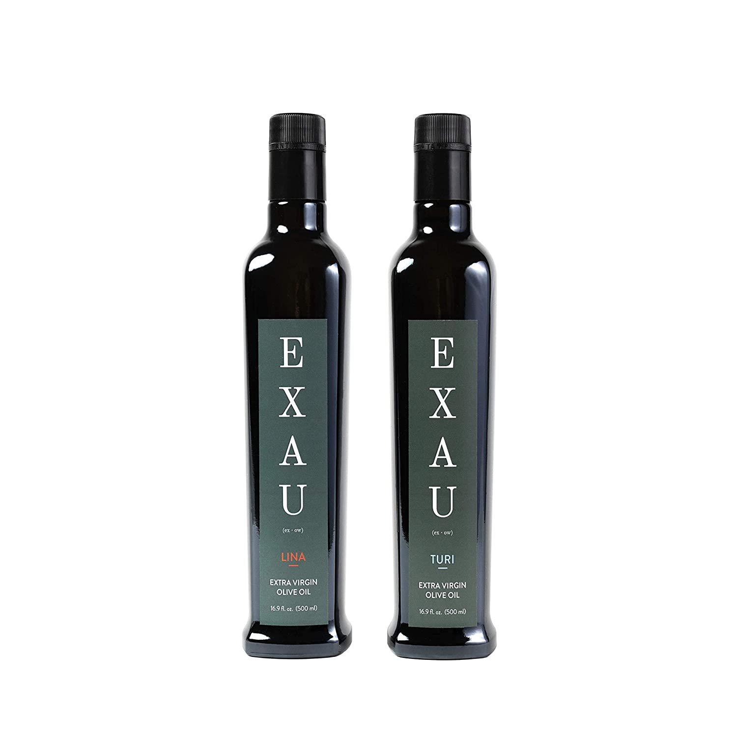 Two bottles on olive oil on white background