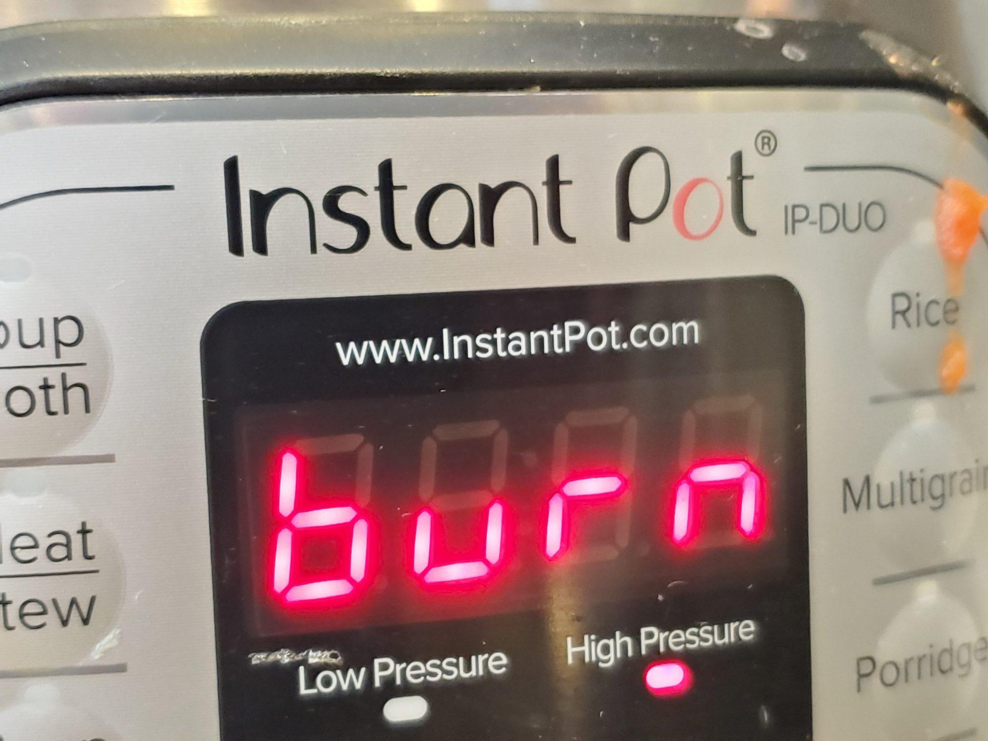 burn notice on instant pot
