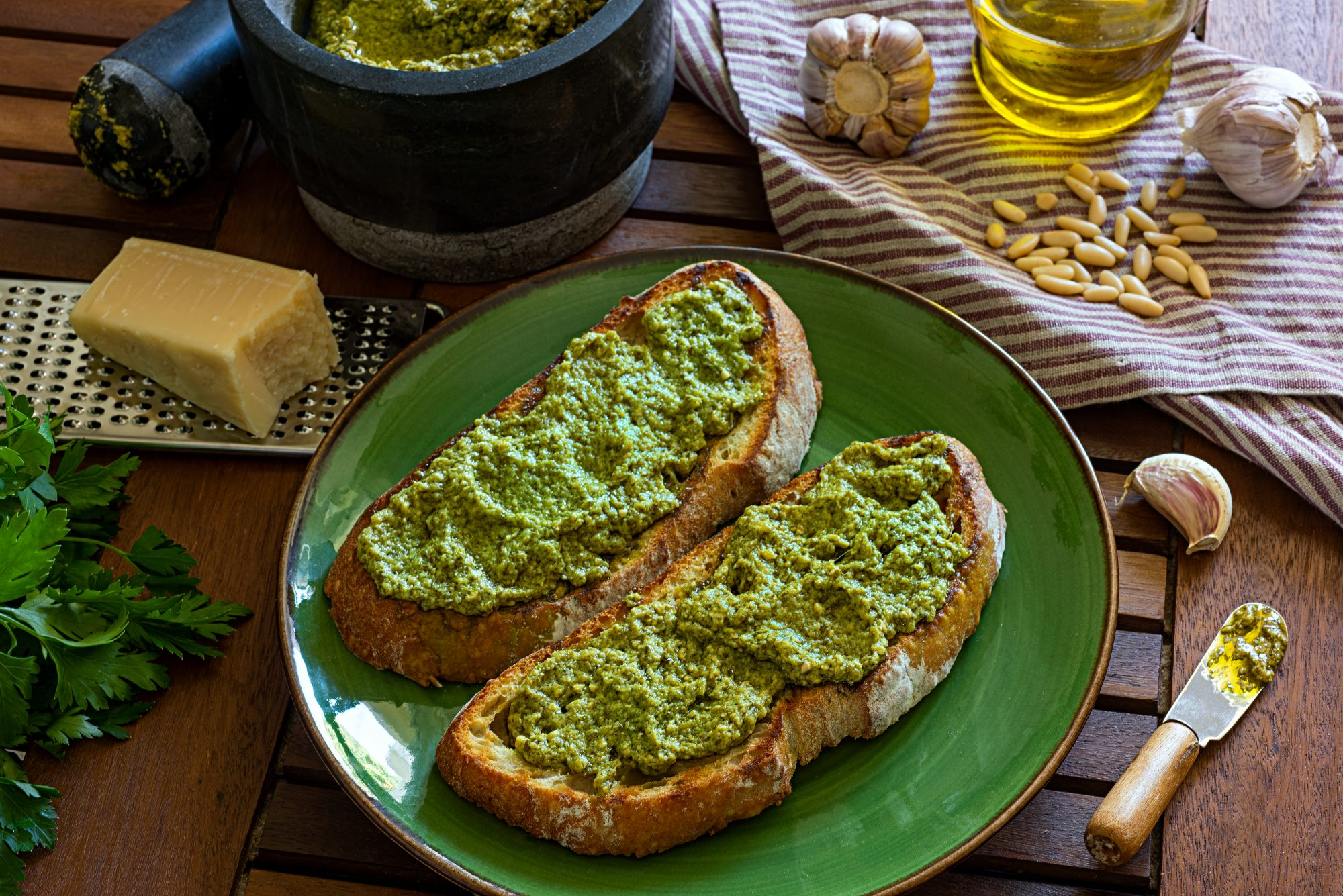 Pesto Spread on Bread