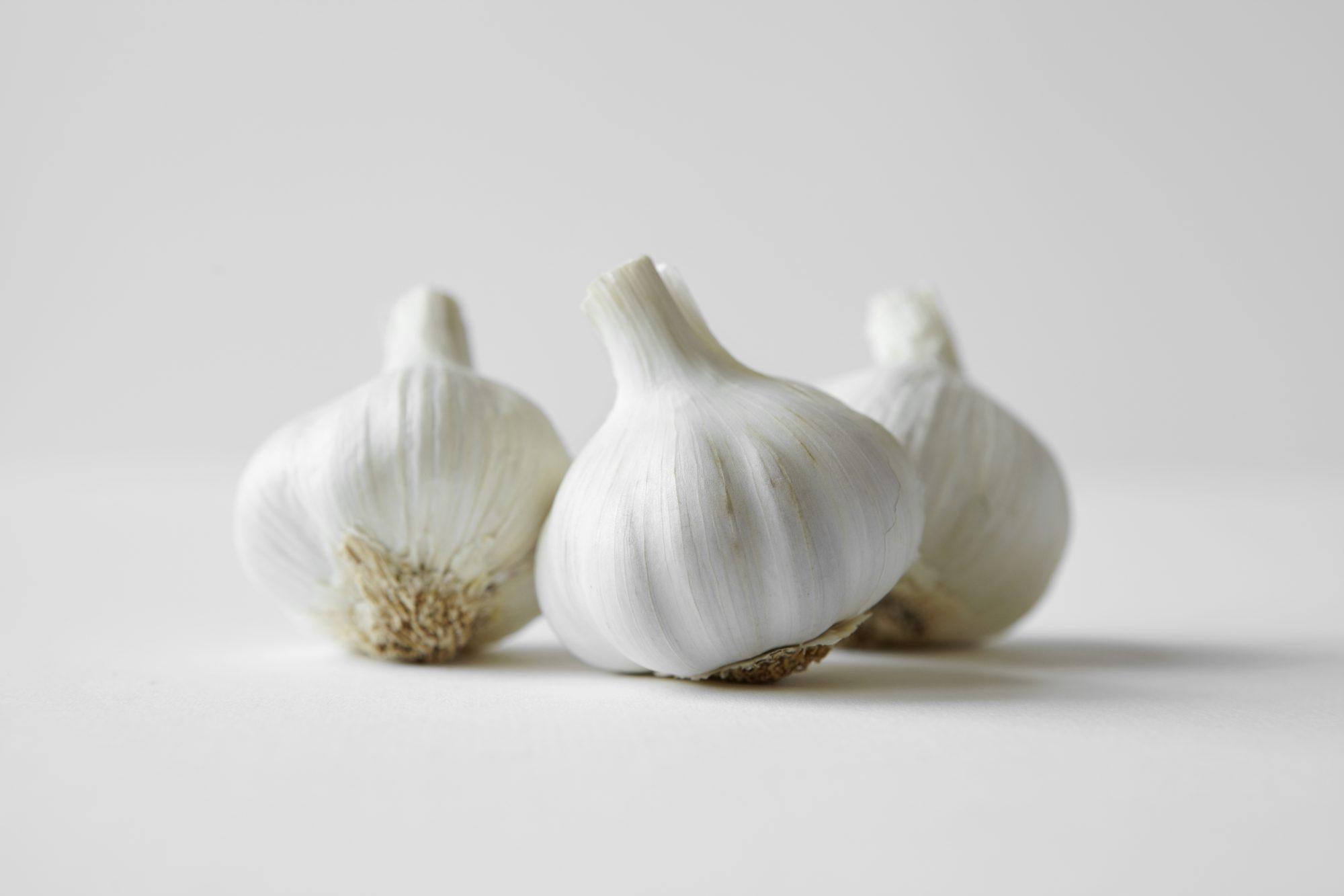 three garlic heads