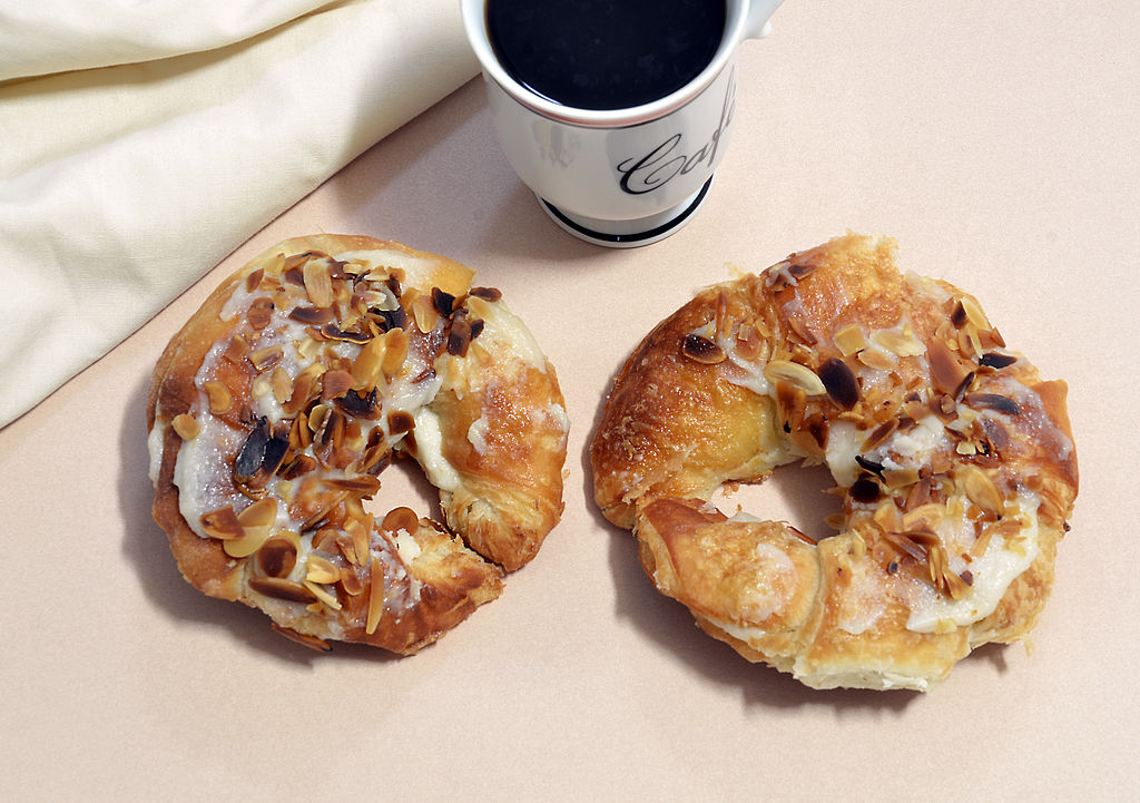 almond croissants with coffee