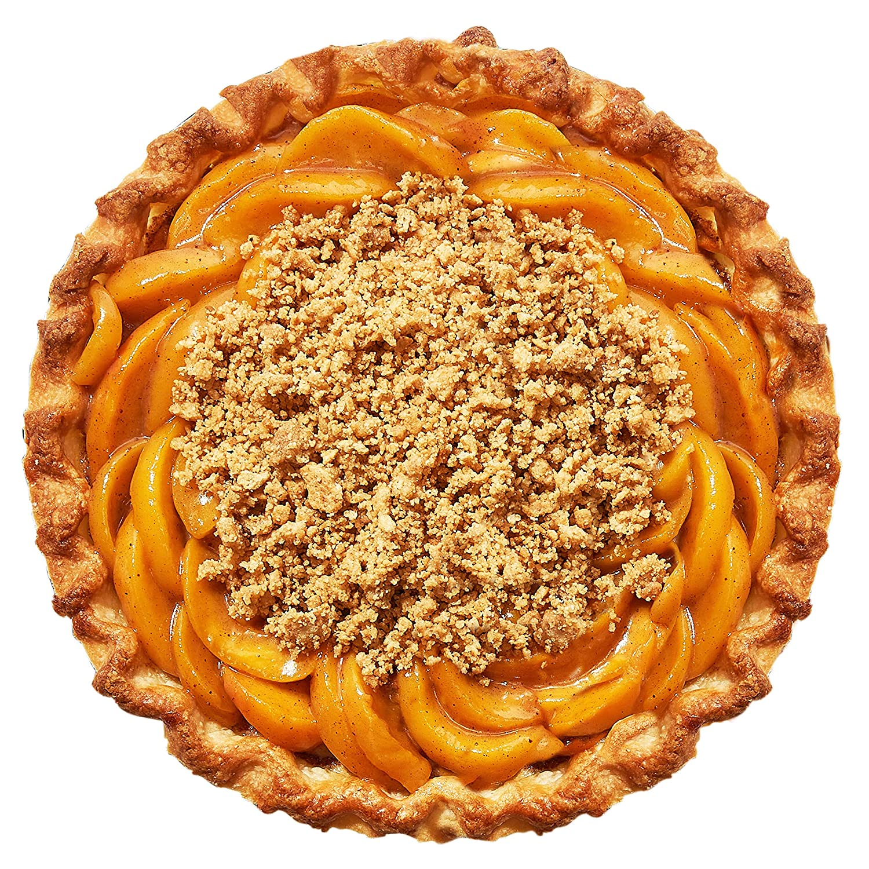 Peach cobbler pie on white background