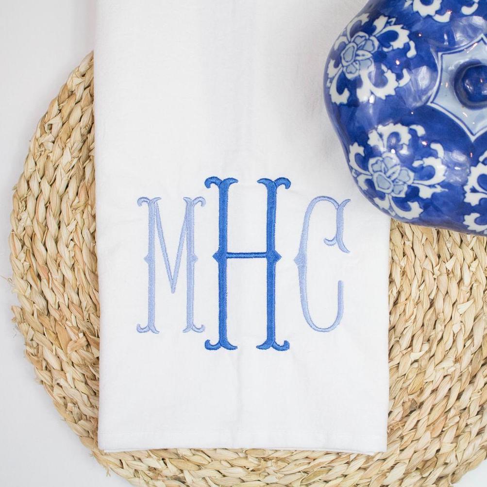 white towel with MHC monogram