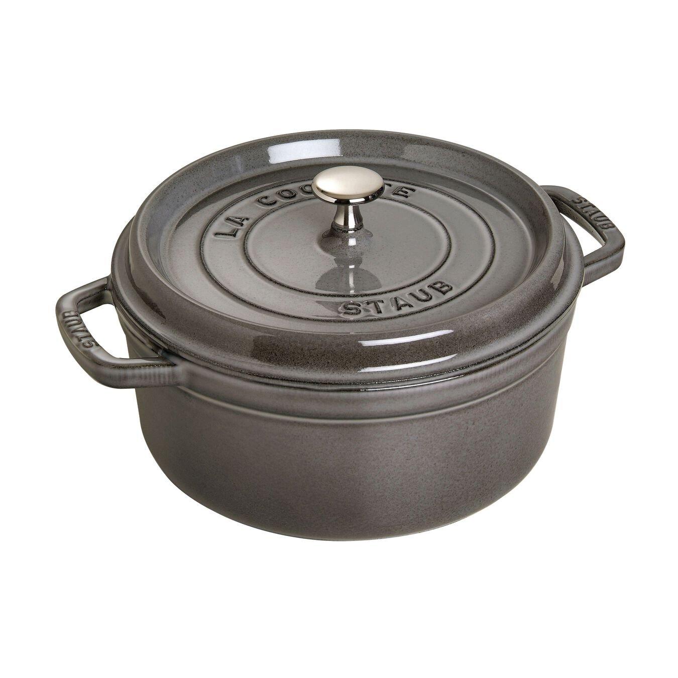 Staub Cast Iron 4-Quart Round Cocotte - Graphite Grey