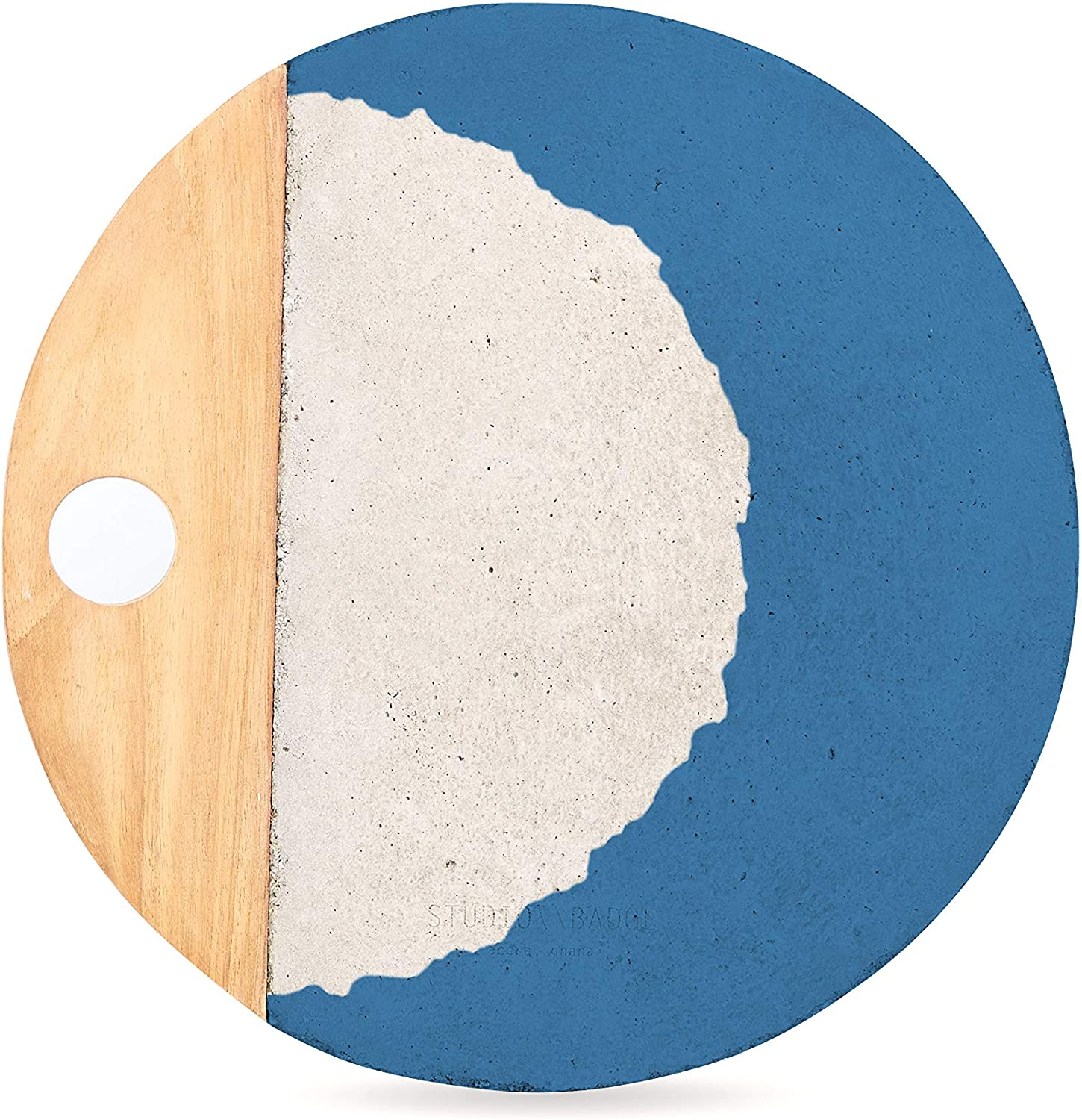 Blue, concrete, and wood circular serving platter