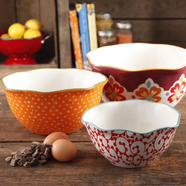 set of three patterned bowls