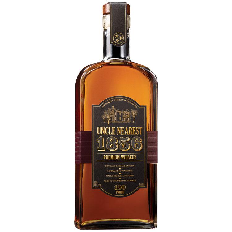 Bottle of Uncle Nearest 1856 Whiskey on white background