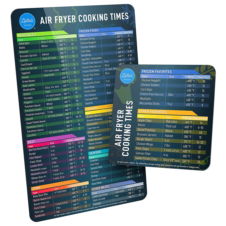 Air Fryer Magnetic Cheat Sheet Set