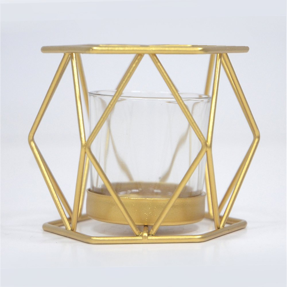 gold geometric wire candle holder