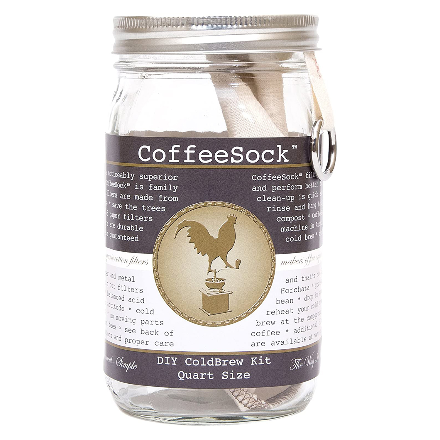 CoffeeSock ColdBrew Kit- Reusable Organic Cotton Filter and Jar
