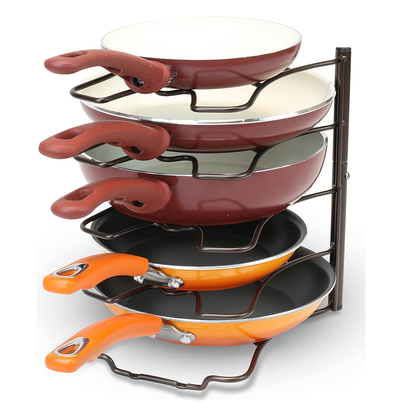 DecoBros Kitchen Counter and Cabinet Pan Organizer Shelf Rack, Bronze
