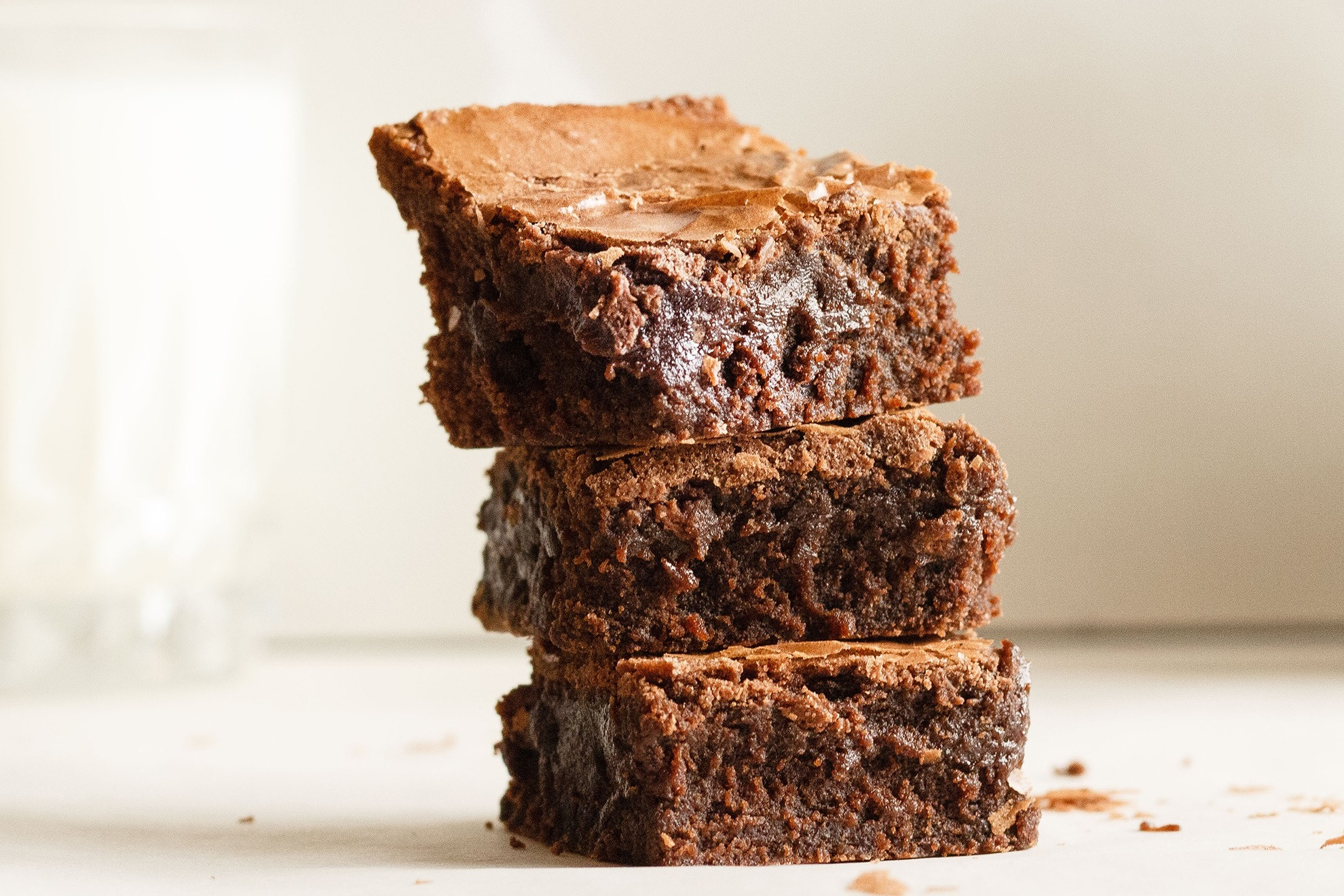 stack of homemade brownies from brownie mix