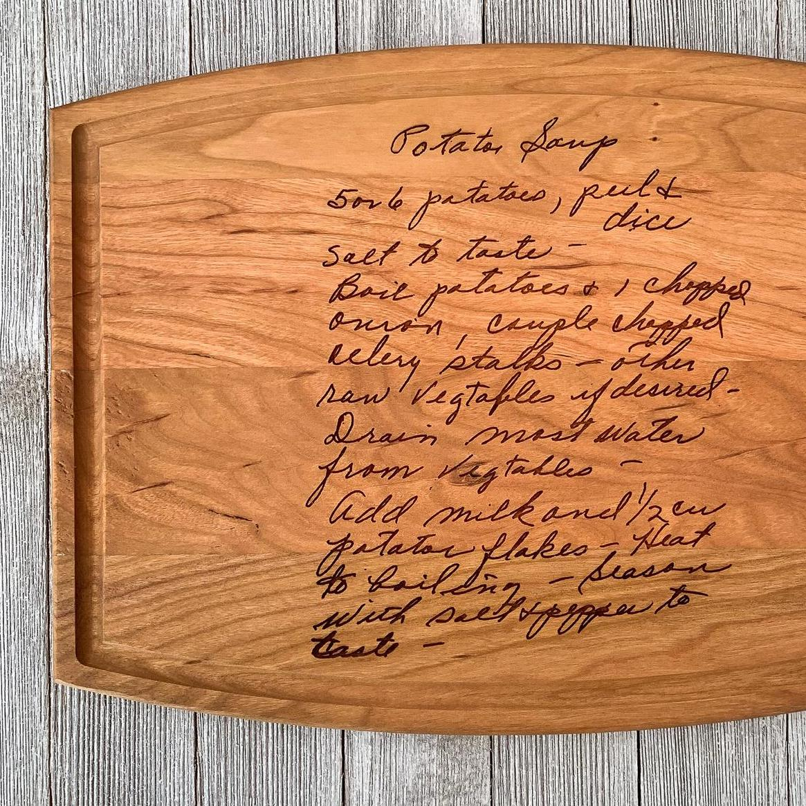 cutting board printed with family recipe