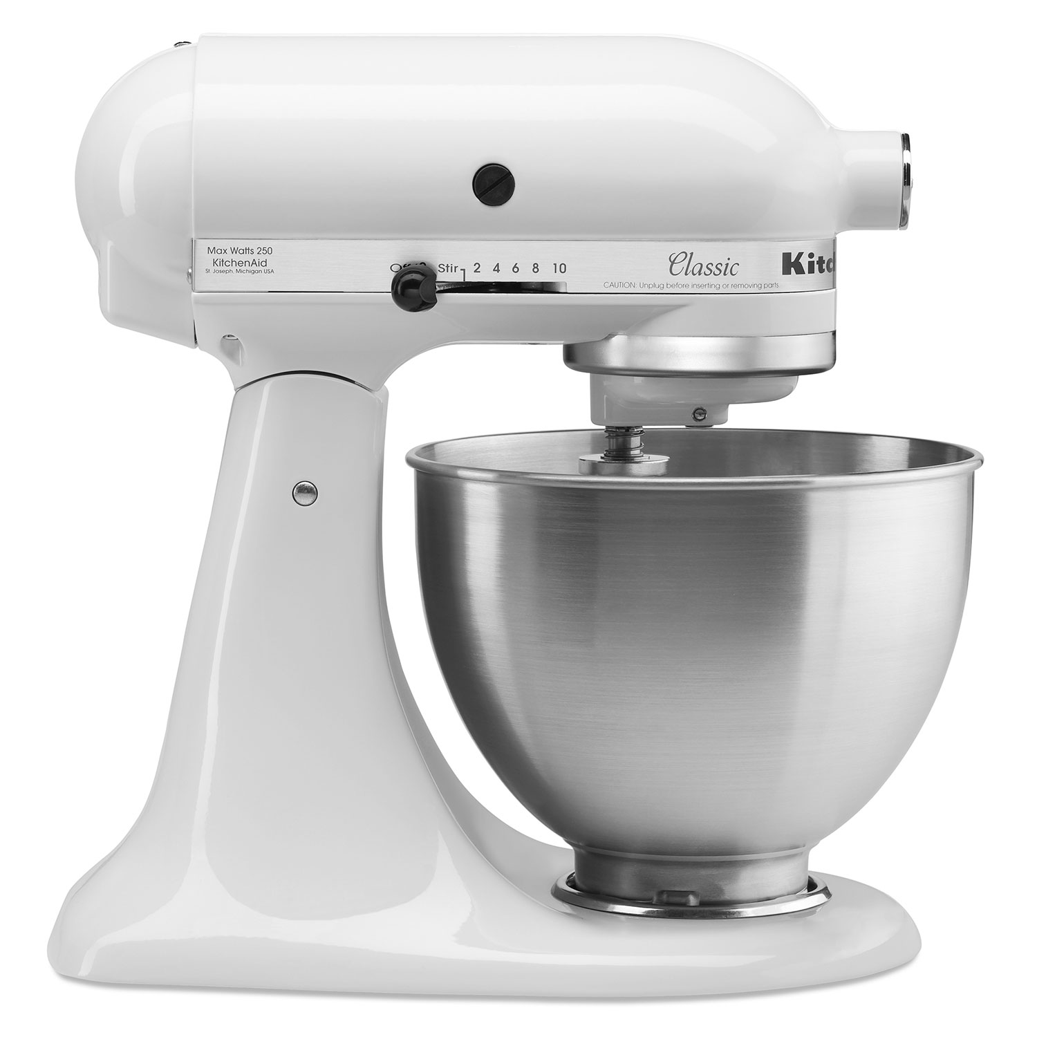kitchenaid classic series 4.5 quart tilt head white stand mixer