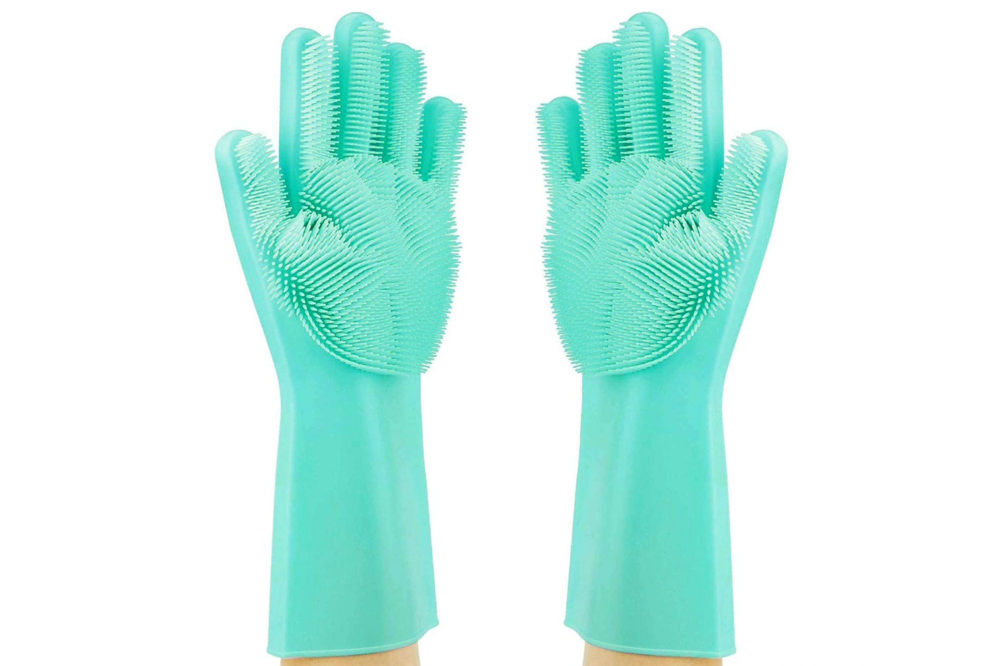 teal gloves with scrubbing palms on a white background